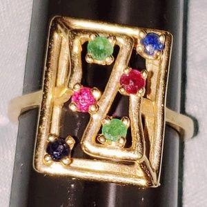 Gold thin band multi gemstone ring